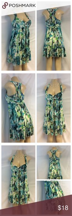 """""""MADE IN USA"""" COLORFUL DESIGN SUMMER DRESS """"MADE IN USA"""" COLORFUL DESIGN SUMMER DRESS w/padded bra, Size S, 95% polyester, 5% spandex, machine wash. Approx measurements are 36"""" top to hem, 16.5"""" bust laying flat (107) Dresses"""