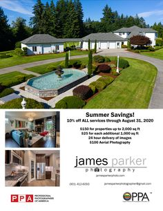 Summer Special - 10% off all services!  Serving Portland metro area, Washougal, Camas, Vancouver, and surrounding areas. FAA Licensed drone pilot. Aerial photos and video available! 24 hour turnaround on images. Fast, quality service. Slideshows of images available Ask me how to save even more!  To book your property, contact me now at: James Parker 901-412-6093 jamesparkerphotographer@gmail.com