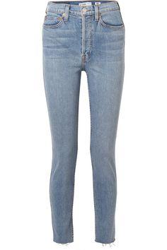 RE/DONE | Originals High-Rise Ankle Crop frayed skinny jeans | NET-A-PORTER.COM