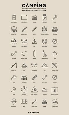 Camping : 40 Free Vector Icons - Free Design Resources Free Logo, Vector Icons, Vector Free, Line Icon, 100 Free, Icon Set, Icon Design, Free Design, Wordpress Theme