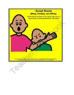 Autism; Aspergers; Social Stories for Biting; Pinching; Hitting product from Special Needs Shop on TeachersNotebook.com