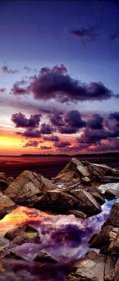 ~~purple rock ~ rock reflection, sunset at the sea, France by Vinz KLEFER~~