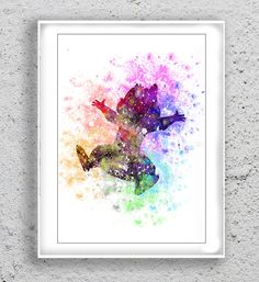 Chip and dale Art Print Watercolor Print poster by MulticolourArt