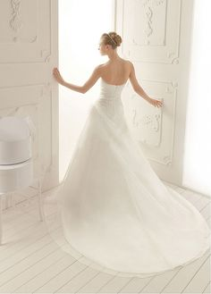 Graceful Organza Satin A-line Strapless Sweetheart Neckline Natural Waist Wedding Dress With Beadings and Handmade Flowers. LOVE IT!!!