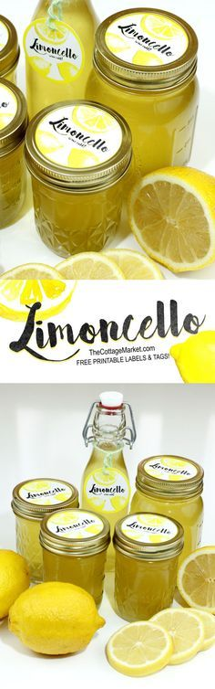 Homemade Limoncello Gift in a Jar with Free Printable Label - The Cottage Market If you enjoy arts and crafts a person will appreciate this info! Jar Gifts, Food Gifts, Printable Labels, Free Printable, Homemade Limoncello, Limoncello Recipe, Food And Drink, Cooking Recipes, Favorite Recipes