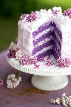 A purple cake?!?!!  I've never seen one before, but I couldn't find the recipe.  Very pretty!
