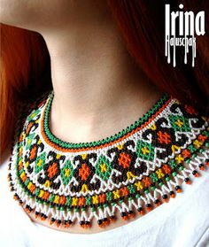 seed bead collar, necklace, art, craft, beadwork, kryza, lemko, DIY, white, yellow,  green, orange, http://irina-haluschak.blogspot.com/