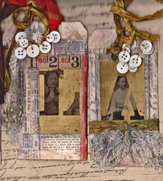Tags with brass stencils and tintypes, lace and old buttons, by Lou McCulloch