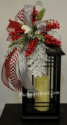 christmas lantern swag - How To Decorate A Lantern For Christmas