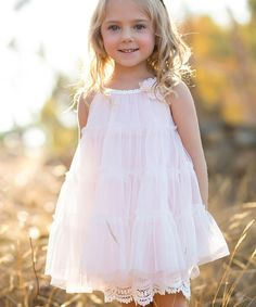 Look at this Blush Pink Tiered Mesh Dress - Infant, Toddler & Girls on #zulily today!