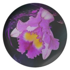 Purple Orchid flower dinner party plates