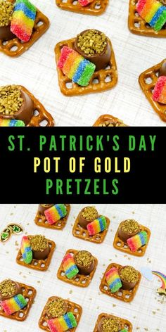 Are you looking for a fun St. Patrick's Day snack that you can make with the kids? These Pot of Gold Pretzels are quick, easy, and so much fun! patricks day treats for school kids Quick and Easy Pot of Gold Pretzels Perfect for St. St Patricks Day Crafts For Kids, St Patricks Day Food, Saint Patricks, St Patricks Day Snacks For School, Baileys Irish Cream, Marshmallows, Parfait, Fudge, St Patrick Day Snacks