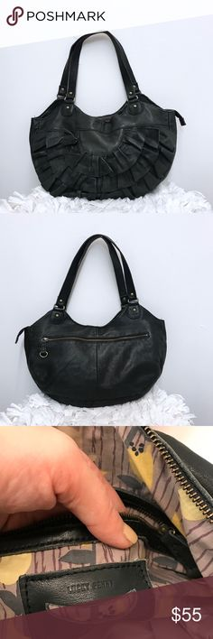 """Anthropologie Lucky Penny leather bag Anthropologie Lucky Penny bag. Great condition. 3 compartments. One zipper in the middle and one on each size. Measures 18""""X11"""" drop 11.5"""" Anthropologie Bags Shoulder Bags"""