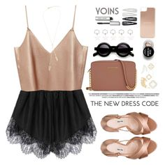 """""""Dusty rose / Metallic blush - Yoins"""" by purpleagony on Polyvore featuring Miu Miu, Michael Kors, Kate Spade, Forever 21, Bobbi Brown Cosmetics, yoins, yoinscollection and loveyoins"""