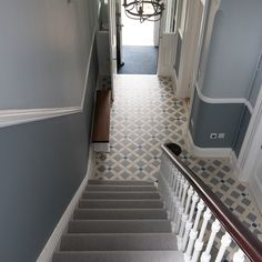 Victorian Floor tiles are suitable for indoor and outdoor floors and can come in a variety of patterns and colours Hall Tiles, Tiled Hallway, Hallway Flooring, Hallway Walls, Grey Flooring, Hallway Ideas, Hallways, Victorian Terrace Hallway, Edwardian Hallway