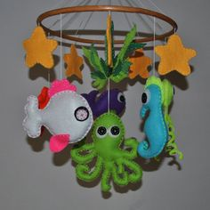 Sea creature ornament ideas on pinterest felt baby for Sea animal baby mobile