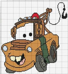 Cars Cross Stitch For Kids, Mini Cross Stitch, Cross Stitch Needles, Disney Cars, Walt Disney, Crochet Car, Crochet For Boys, Cross Stitch Designs, Cross Stitch Patterns