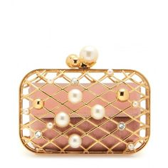 Jimmy Choo Embellished Brass Clutch (4,780 BAM) ❤ liked on Polyvore featuring bags, handbags, clutches, jimmy choo, borse, gold, jimmy choo clutches, embellished purses, white purse and jimmy choo purses