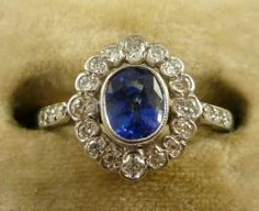Victorian 18ct White Gold Ring Natural Sapphire Old Cut Diamonds | eBay