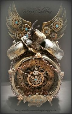 Maria Lina's Creative Designs: Lighted Steampunk Altered Clock