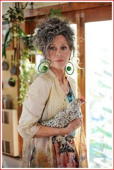 Jane Fonda looking amazing at 74 (in character for Peace Love and Understanding - don't think she usually carries a chicken around with her!)