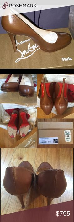 """🆕 Special Order Christian Louboutin New Simple Authentic, Special Order, Christian Louboutin New Simple Pump 120 Kid in Brown  Original lifts still on shoes, extra included This color is a special order Please review pictures closely for wear.  Insole measures 9.5""""; provided for questions about fit 🚫NO OFFERS 🚫NO TRADES 🚫 NO OFF-PM   Dust bag & box provided   A cobbler can repair heel gouge created by sidewalk grates. Repair reflected in the price and is usually performed during heel…"""