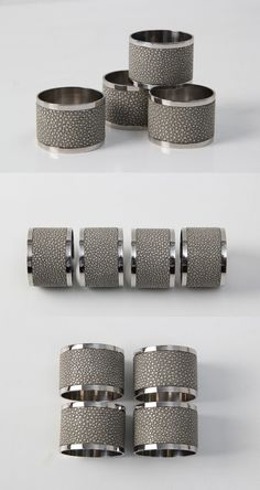 Barley shagreen & stainless steel by Forwood Design. Ring Designs, Napkin Rings, Tabletop, Coffee Mugs, Boxes, Stainless Steel, Luxury, Interior, Gifts
