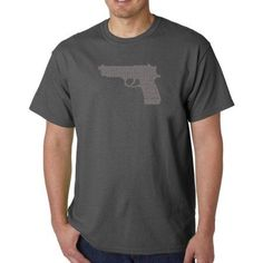 Los Angeles Pop Art Men's T-shirt - Right to Bear Arms, Size: Small, Gray