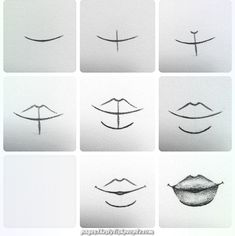 Delineate Your Lips Tutorial. How to draw lips :) - How to draw lips correctly? The first thing to keep in mind is the shape of your lips: if they are thin or thick and if you have the M (or heart) pronounced or barely suggested. Art Drawings Sketches Simple, Pencil Art Drawings, Easy Drawings, Drawings Of Faces, Drawing People Faces, Horse Drawings, Drawing Techniques, Drawing Tips, Drawing Drawing