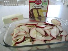 Fresh Apple Dump Cake - Spread sliced fruit on bottom of 9x13, spread cake mix over, then pour 1 stick butter melted over all. Bake 350 for 35 to 45 minutes