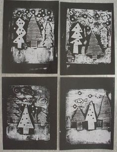 Knights Smartest Artists: First Look at Evergreen Collagraph Prints!--use texture plates? for the trees make texture then cut shape to put on black paper Christmas Art Projects, Winter Art Projects, School Art Projects, 6th Grade Art, Collagraph, Theme Noel, Kindergarten Art, Art Lessons Elementary, Art Lesson Plans