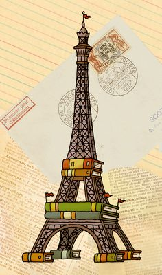 The Eiffel Tower (with added books) - fun illustrations of monuments around the world by Patrick Girouard Tour Eiffel, I Love Books, Books To Read, Reading Art, World Of Books, Book Illustration, Belle Photo, Book Worms, Book Lovers