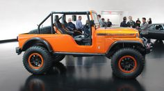 Jeep built the custom Hemi concept for the 2016 SEMA show using a CJ body, a Wrangler TJ chassis, and Wrangler JK body parts. Jeep Cj6, Jeep Pickup, Wrangler Tj, Go Kart, Monster Trucks, Retro, Vehicles, Sweet, Jeeps