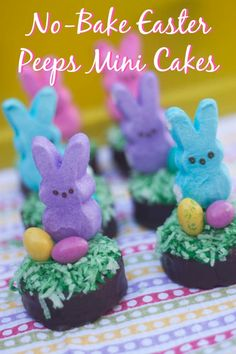 No-Bake Easter Peeps Mini Cakes