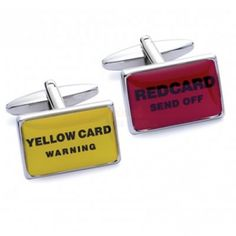 Personalised Red and Yellow Card Cufflinks with Engraved Case  from Personalised Gifts Shop - ONLY £19.95