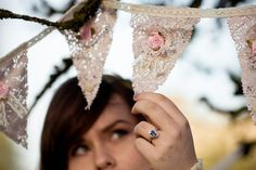 tea dyed lace garland