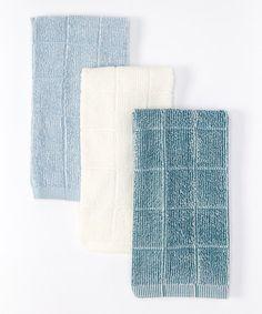 Look what I found on #zulily! White & Turquoise Microfiber Kitchen Towel - Set of Three #zulilyfinds