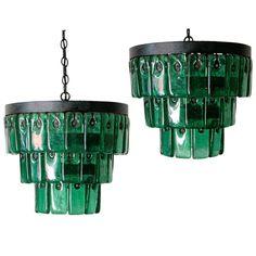 Eric Hoglund Emerald Glass Chandeliers - Sweden - 1960s