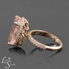 Marriage Rings - Morganite Engagement Ring, Morganite Rose Gold Engagement Ring, Morganite Ring, Diamond Halo Ring, Filigree Rings, Diamond Ring - LS3647 - Marriage rings are the jewel in common between him and you, it is the alliance of a long future and an age-old custom. Think about it, this ring will age along with you so why not choose the best, most beautiful and durable?