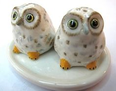 Dollhouse Miniatures Ceramic SaltPepper Owl WhiteYellow FIGURINE Animals Decor * Check out this great product.
