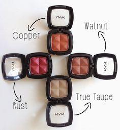 Nyx Eyeshadow / Copper, Rust, True Taupe, Walnut http://guzellikeditoru.blogspot.com.tr/2015/04/nyx-eyeshadow-copper-rust-true-taupe.html