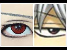 Tutorial : Anime Eye Makeup 101 • Sakata Gintoki - YouTube Anime Eye Makeup, Anime Eyes, Makeup Eye Looks, Cute Makeup, Otaku, Makeup 101, Cosplay Tutorial, Cosplay Makeup, Eyeliner