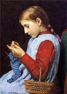 Girl Knitting - Albert Samuel Anker I knit socks the same way! :D Only I'm an English knitter whereas she's knitting Continental. Illustrations, Illustration Art, Knit Art, Sewing Art, Caricatures, American Women, American Artists, Belle Photo, Knitting Projects