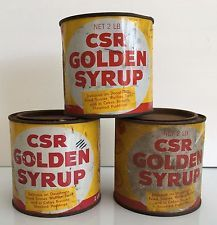 3 x CSR Golden Syrup Tin Cans - 2 with lids