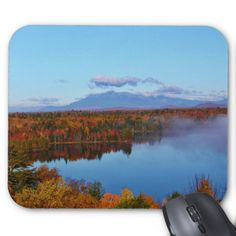 Mt.Katahdin Autumn Scenery Standard Mouse Pads by KJacksonPhotography --  Taken 10.12.2014 Mt. Katahdin, the beautiful blue skies and some clouds contrast wonderfully with surrounding colorful canopy of autumn leaves of the forest - brilliant dazzling reds, oranges and golds. Salmon Stream Lake beautifully reflects the kaleidoscope of colors of this fall's vivid hues. From the I95 scenic turnout, mile marker 252.PC:243.284