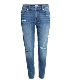Girlfriend Jeans | Blau/Verschlissen | Damen | H&M DE