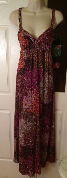 Moa Moa Purple Multicolor Boho Hippie Braided Straps Maxi Sundress Dress S    eBay