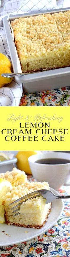 Lemon Cream Cheese Coffee Cake is extra lemony, with a creamy filling and a crum. Lemon Cream Cheese Coffee Cake is extra lemony, with a creamy filling and a crumbly topping. Light, refreshing, and delicious; brew the coffee and invite your friends! Lemon Desserts, Lemon Recipes, Just Desserts, Sweet Recipes, Baking Recipes, Delicious Desserts, Cake Recipes, Dessert Recipes, Yummy Food