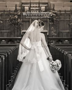 Black and white bridal portrait in the church