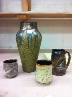 Bulldog Pottery, Seagrove, NC, Deep surfaces of crystals, layers, slip
